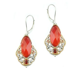 Michael Valitutti Orange Chalcedony with Garnet and Orange Sapphire Earrings