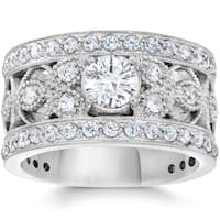 10K White Gold 1 5/8Ct TDW Diamond Vintage Antique Filigree Engagement Ring