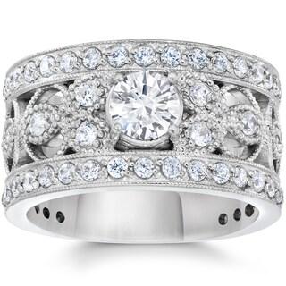 10K White Gold 1 5/8Ct TDW Diamond Vintage Antique Filigree Engagement Ring