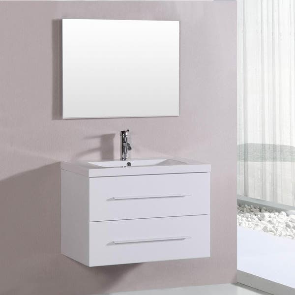 Belvedere 32 Inch Contemporary White Floating Single