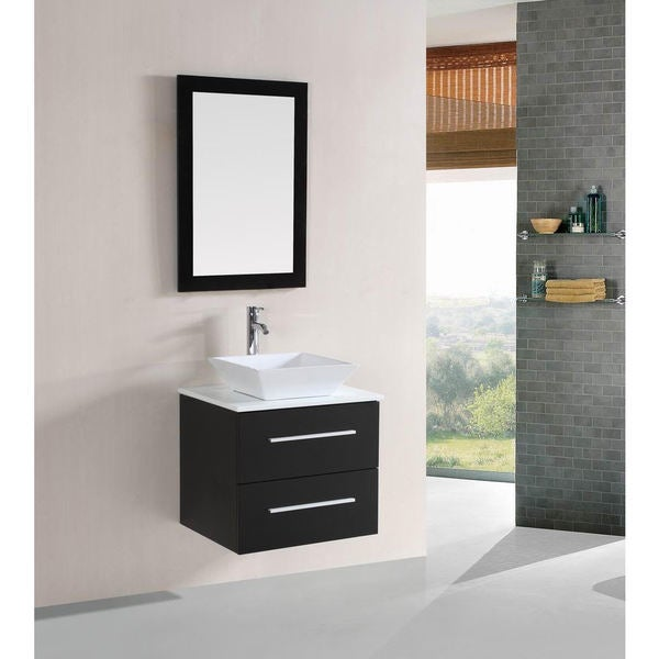 shop belvedere 24 inch modern espresso floating single sink bathroom vanity free shipping. Black Bedroom Furniture Sets. Home Design Ideas