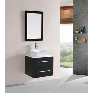 Belvedere 24-inch Modern Espresso Floating Single Sink Bathroom Vanity Set with Mirror and Faucet