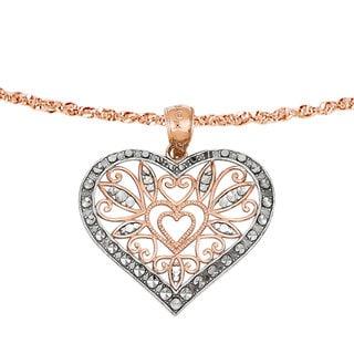 Versil 14k Rose Gold Rhod D-C Fancy Heart Pendant