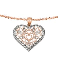 Versil 14k Rose Gold Rhodium Plated Diamond Cut Fancy Heart Pendant with 18-inch Chain