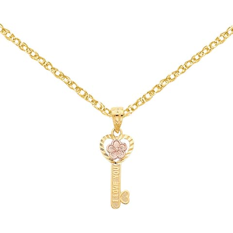 14 Karat Two-tone Gold I Love You Heart Key Pendant with 18-inch Chain by Versil