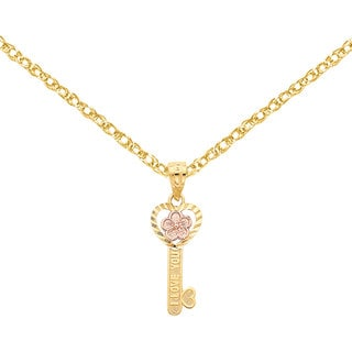 Versil 14k Two-tone Gold I Love You Heart Key Pendant