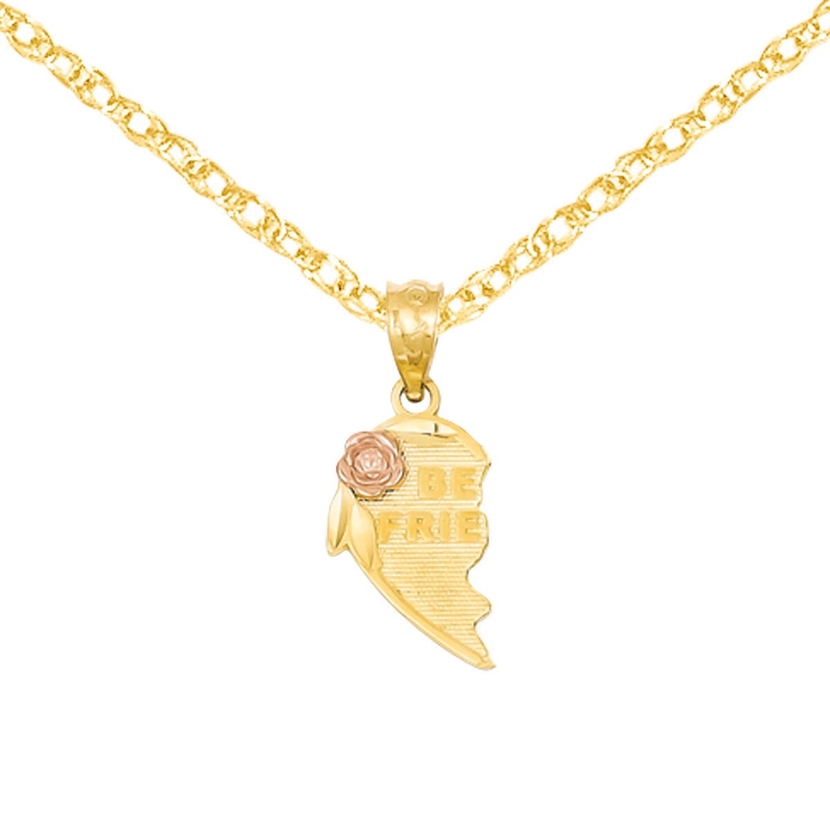 14K Two Tone Gold Fancy Design Heart Charm Pendant For Necklace or Chain