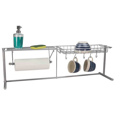 Home Basics Silver Over The Sink Kitchen Station