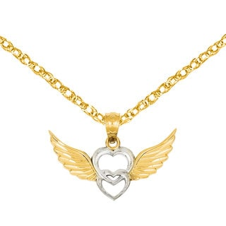 Versil 14k Two-tone Gold Heart with Wings Pendant