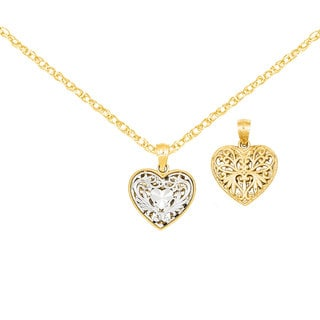 Versil 14k Two-tone Gold Reversible Filigree Heart Pendant