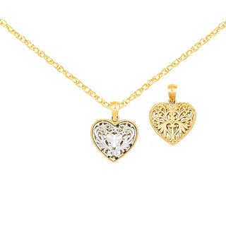 Versil 14k Two-tone Gold Reversible Filigree Heart Pendant with an 18-inch Chain