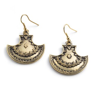 Handmade Fair Trade Maratha Queen Goldtone Dangling Earrings (India)