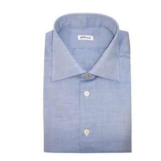 Kiton Blue Chambray Dress Shirt