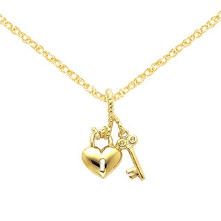 Versil 14k Yellow Gold Polished Heart and Key Slide with 18-inch Chain