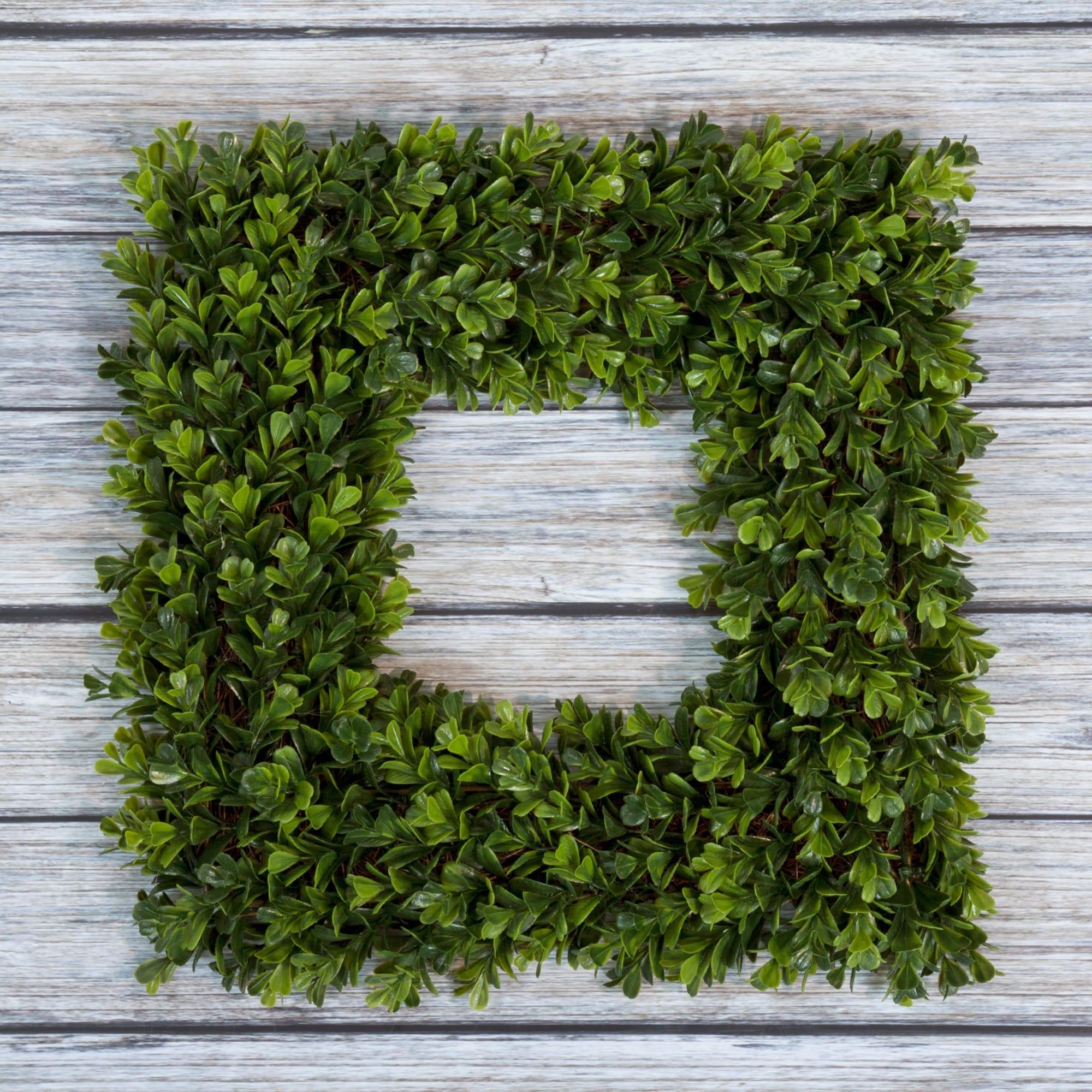 Pure Garden Square Boxwood Wreath - 16.5 inch x 16.5 inch...