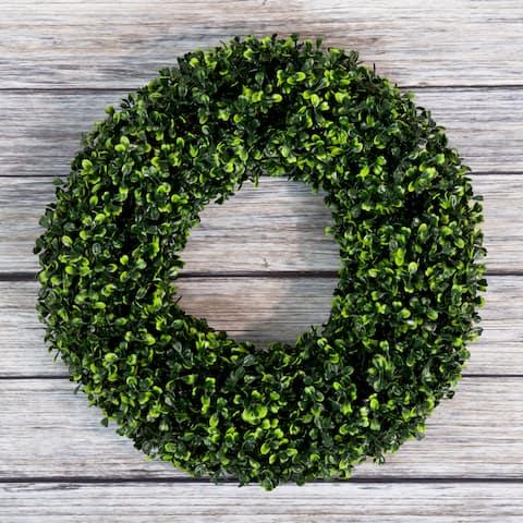 Pure Garden Boxwood Wreath - 16.5 inch Round