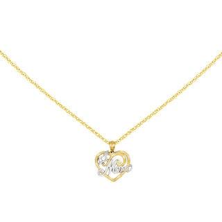 Versil 14k Two-tone Gold #1 Mom Heart Pendant