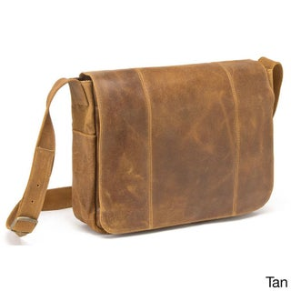 LeDonne Leather Distressed Leather Laptop Messenger (Option: Brown)