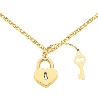 Versil 14k Yellow Gold Heart with Key Charm with 18-inch Chain