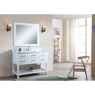 Ari Manhattan White 48 Inch Single Bathroom Vanity Set with Mirror