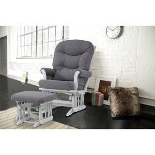 Dutailier Grey Sleigh Glider Recliner and Nursing Ottoman