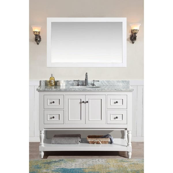 Shop ari kitchen and bath cape cod white 48 inch single for 48 inch mirrored bathroom vanity