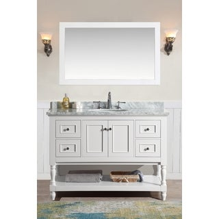 Ari Kitchen And Bath Cape Cod White 48 Inch Single Bathroom Vanity Set With  Mirror