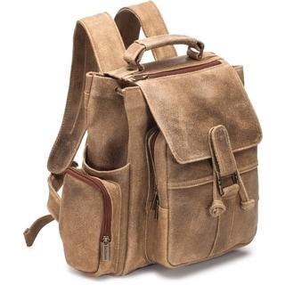 LeDonne Leather Distressed Leather Multi Pocket Backpack
