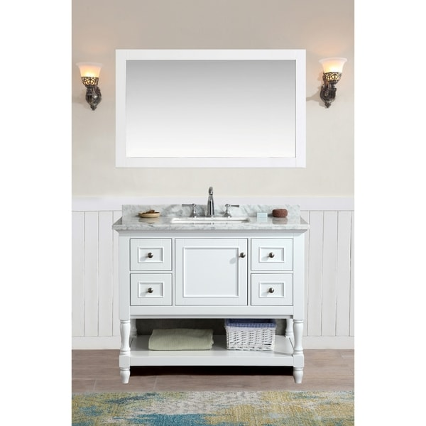 Ari Kitchen And Bath Cape Cod White 42 Inch Single Bathroom Vanity Set With  Mirror
