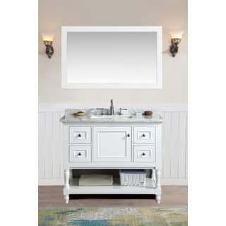 Ari Kitchen and Bath Cape Cod White 42-inch Single Bathroom Vanity Set with  Mirror