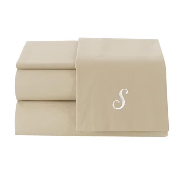 Pamuk Luxury Monogrammed Sand Beige Solid 300 Thread Count 100-percent Turkish Cotton 4-piece Sheet Set