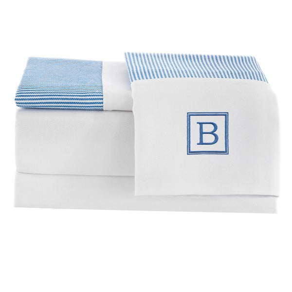 Pamuk Luxury Monogrammed Blue Stripe 300 Thread Count 100-percent Turkish Cotton 4-piece Sheet Set