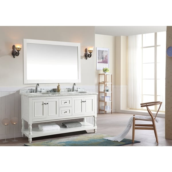 ari cape cod white 60 inch double bathroom vanity set with mirror - 60 Inch Vanity