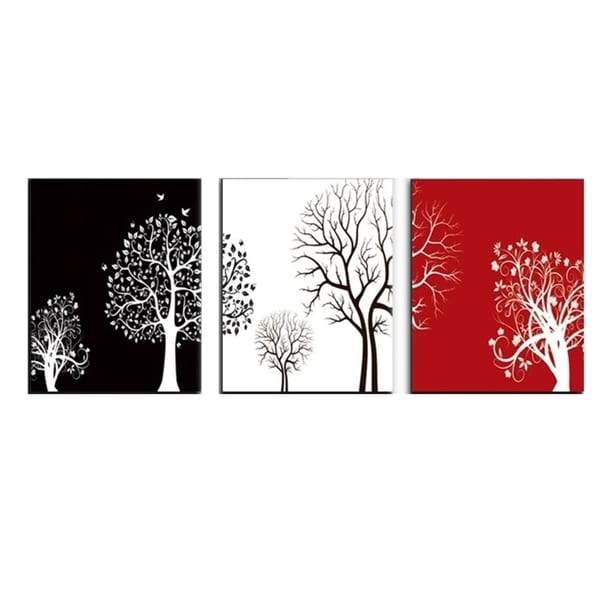 Black White Red Canvas 3 Piece Tree Wall Painting Free