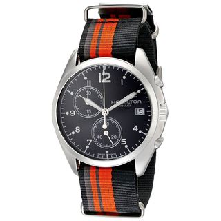 Hamilton Men's H76552933 'Khaki Aviation' Chronograph Automatic Orange and black Canvas Watch