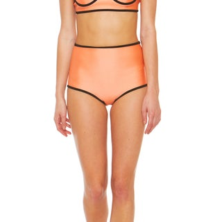 Bra Society Neoprene Orange High Waisted Style Bikini Bottom