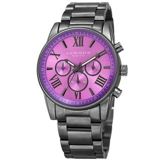 Akribos XXIV Women's Swiss Quartz Multifunction Purple Gun Stainless Steel Bracelet Watch with FREE GIFT