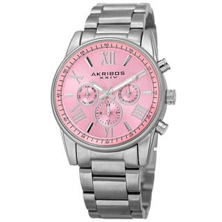 Akribos XXIV Women's Swiss Quartz Multifunction Pink Silver-tone Stainless Steel Bracelet Watch