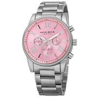 Akribos XXIV Women's Swiss Quartz Multifunction Pink Silver-tone Stainless Steel Bracelet Watch