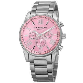 Akribos XXIV Women's Swiss Quartz Multifunction Pink Silver-tone Stainless Steel Bracelet Watch with FREE Bangle