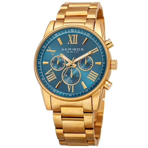 Akribos XXIV Women's Swiss Quartz Multifunction Turquoise Gold-tone Stainless Steel Bracelet Watch - Gold