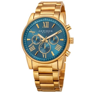 Akribos XXIV Women's Swiss Quartz Multifunction Turquoise Gold-tone Stainless Steel Bracelet Watch