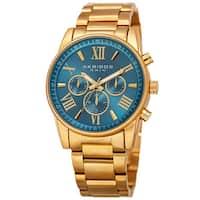 Akribos XXIV Women's Swiss Quartz Multifunction Turquoise Gold-tone Stainless Steel Bracelet Watch - Gold