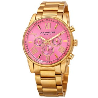 Akribos XXIV Women's Swiss Quartz Multifunction Pink Gold-tone Stainless Steel Bracelet Watch