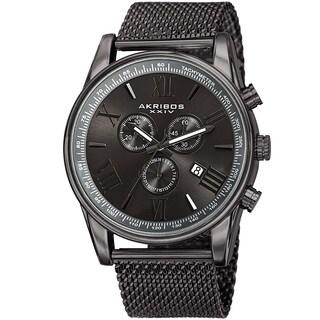 Akribos XXIV Men's Swiss Quartz Chronograph Stainless Steel Mesh Strap Watch - grey