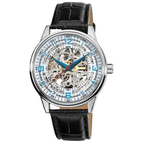 Akribos XXIV Men's Automatic Skeleton Leather Strap Watch - Black