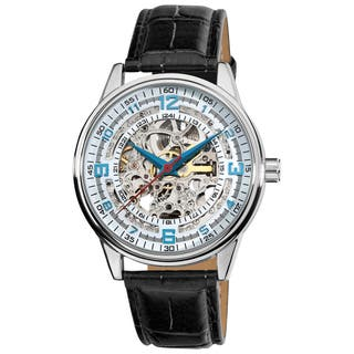 Akribos XXIV Men's Automatic Skeleton Leather Strap Watch with FREE GIFT - Black|https://ak1.ostkcdn.com/images/products/11690798/P18616268.jpg?impolicy=medium
