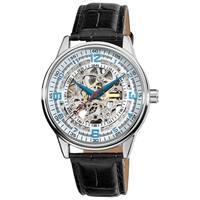 Akribos XXIV Men's Automatic Skeleton Leather Strap Watch - Black
