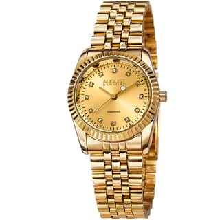 August Steiner Women's Diamond Markers Stainless Steel Bracelet Watch - Gold