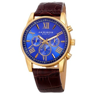 Akribos XXIV Men's Swiss Quartz Multifunction Dual-Zone Brown Leather Strap Watch - BLue